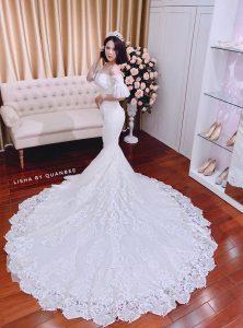 Thuê váy cưới ở đâu đẹp Hà Nội - review váy cưới tại Lisha Bridal